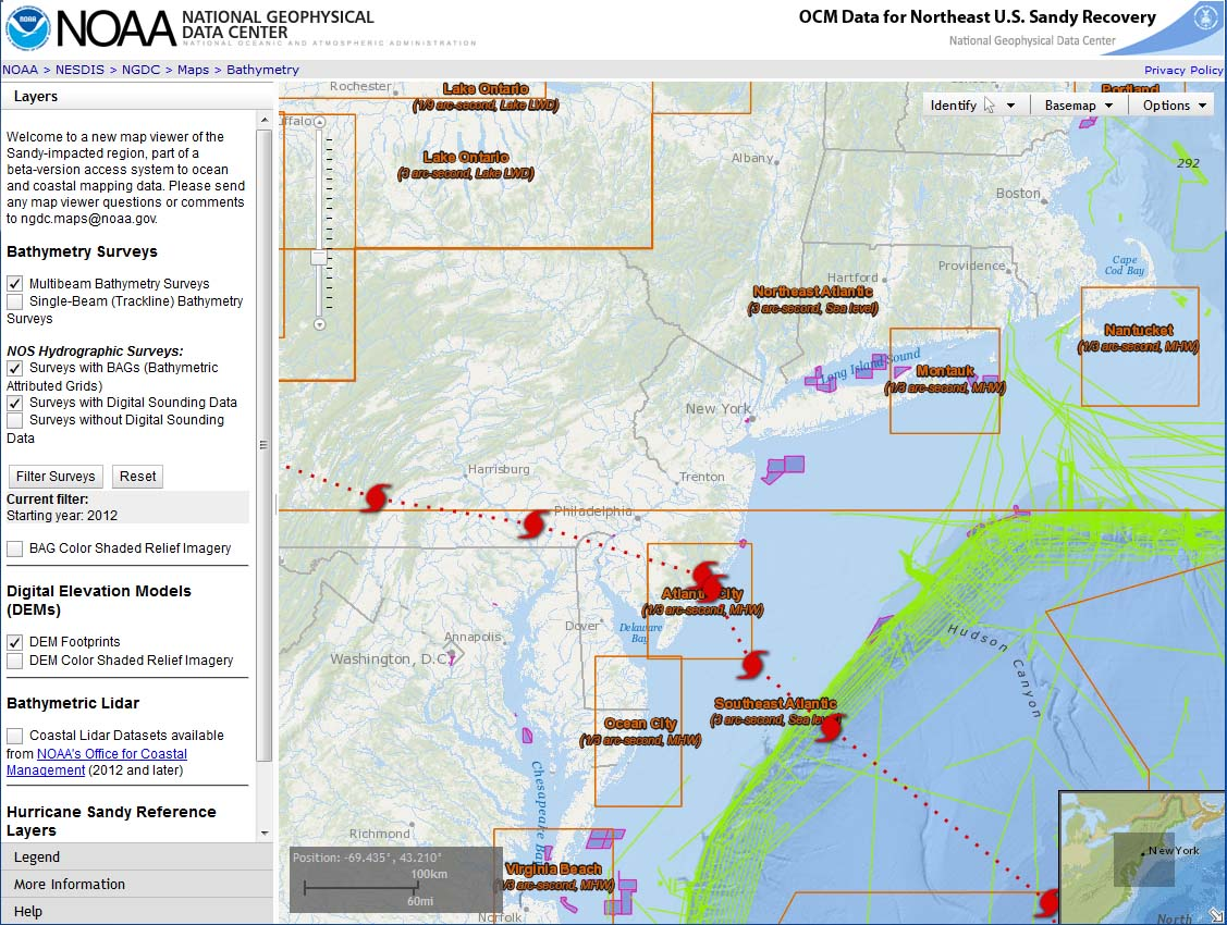 Ocean And Coastal Mapping Data For Northeast U S Sandy Recovery Sandy Map Viewer