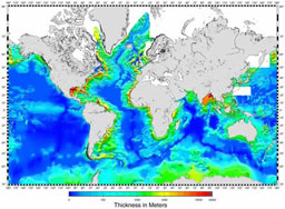 sediment thickness of the oceans