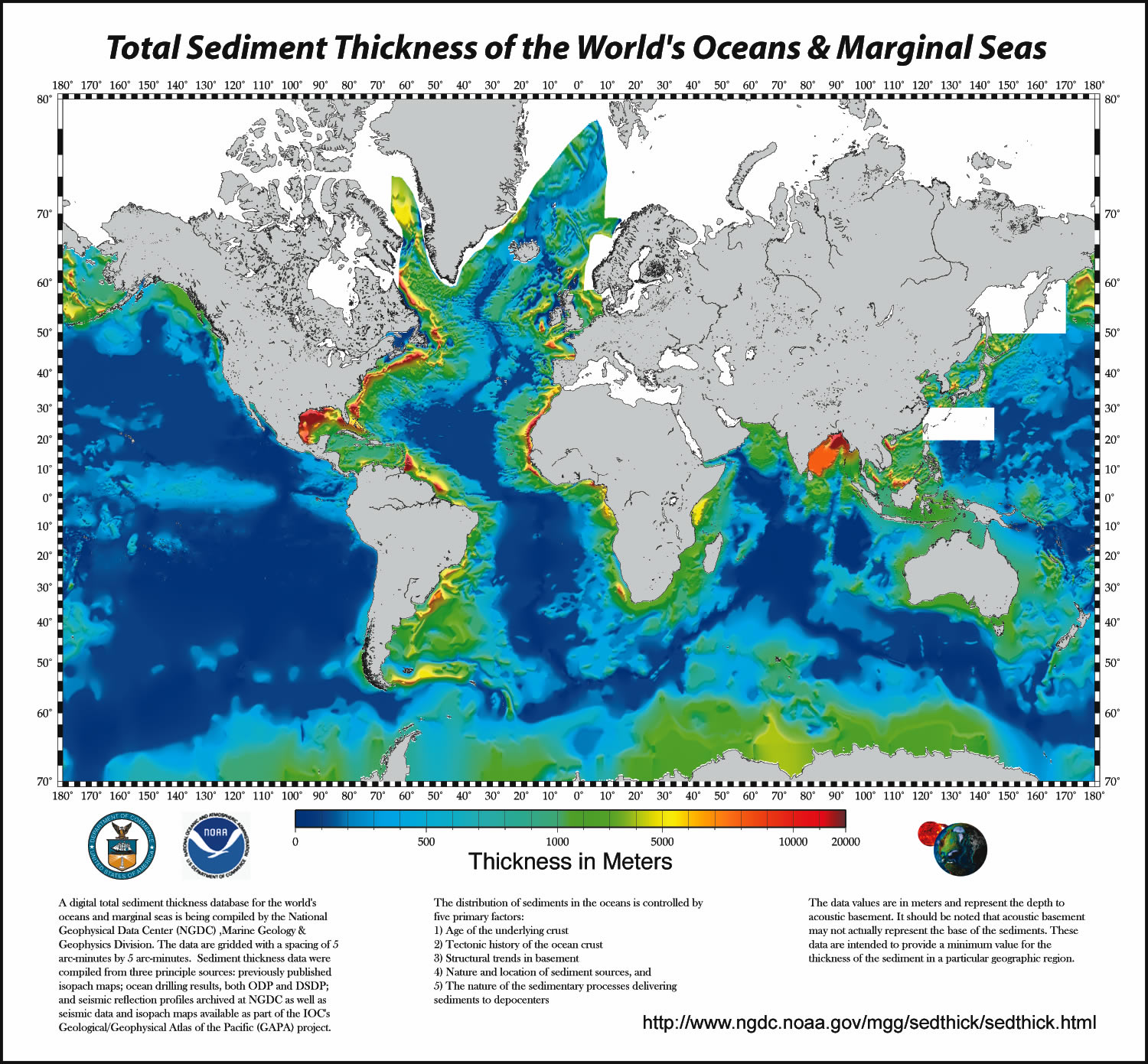Total Sediment Thickness of the Worlds Oceans and Marginal Seas