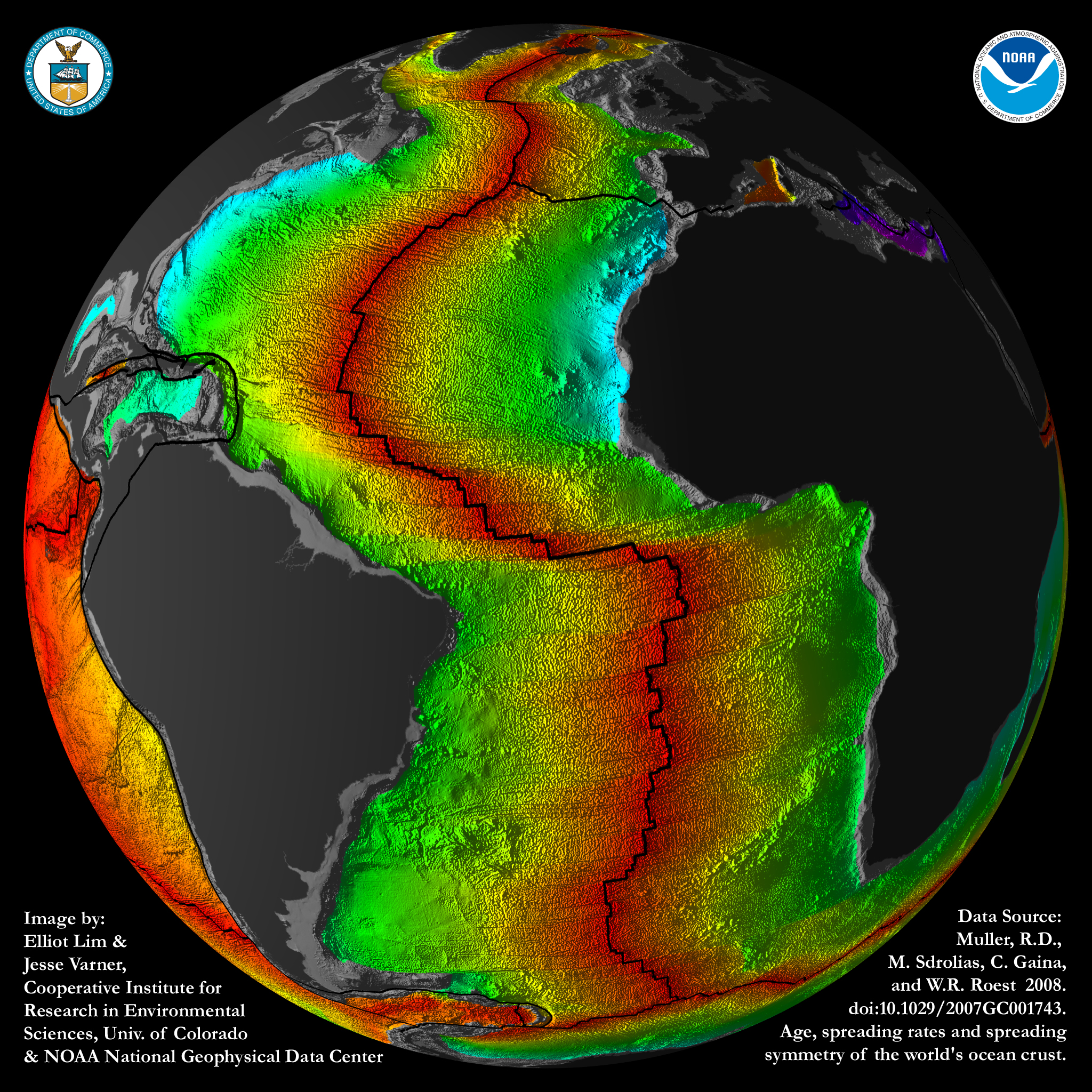 Images crustal ages of the ocean floor ncei jpg 2048x2048 atlantic crustal age image black background gumiabroncs Image collections