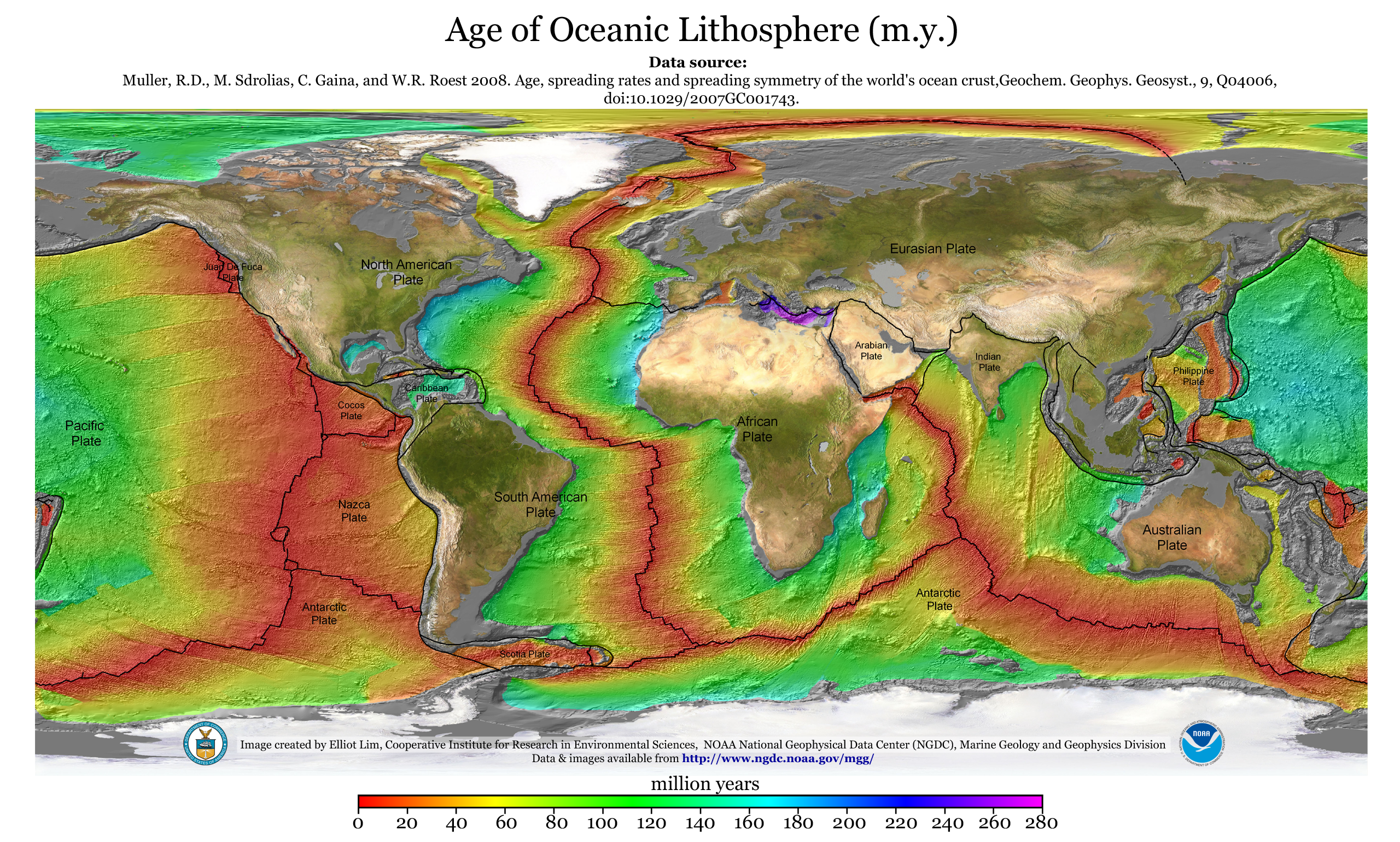 Images Crustal Ages of the Ocean Floor  NCEI