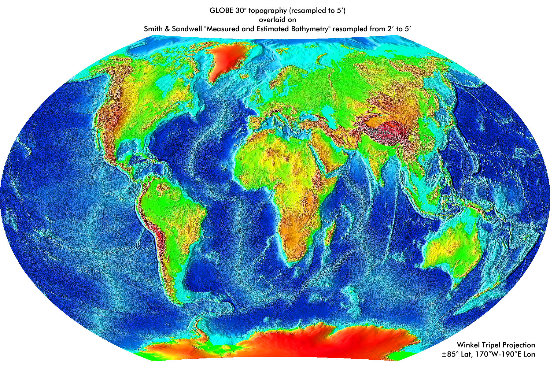 Global Land Onekm Base Elevation Project Gallery Of Images - Topographic map of the world