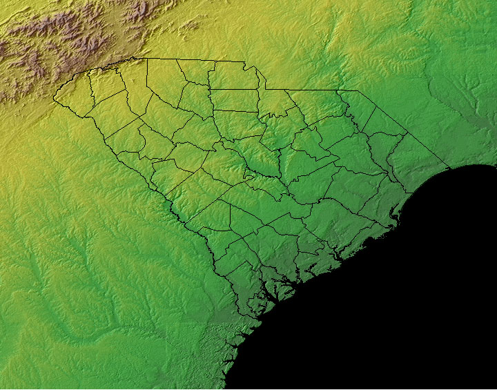 South Carolina Topographic Map South Carolina   Topographical, Climate, and Plant Maps