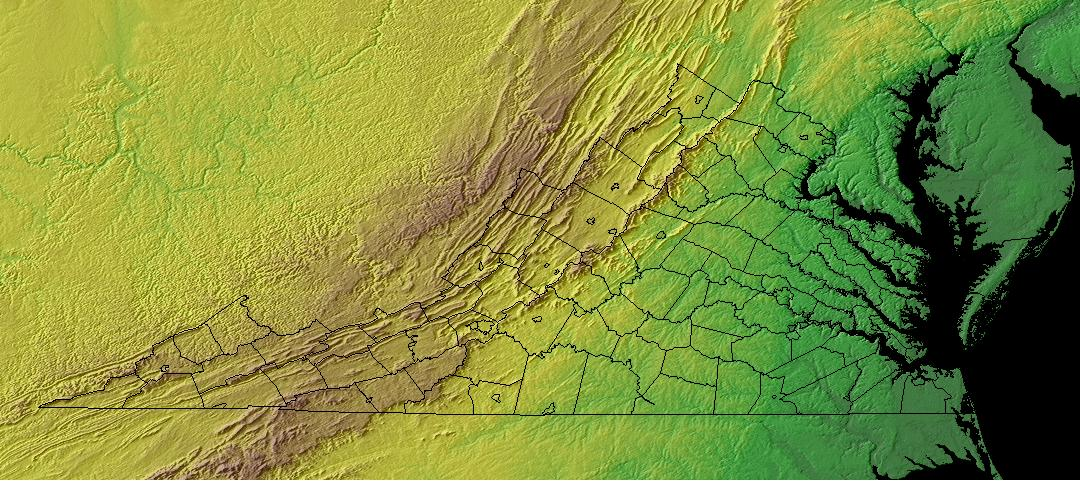 Topography Of Virginia - Terrain map of the us