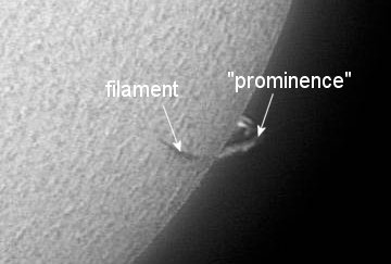 "Nice image distinguishing a solar prominence and filament (from ""http://www.greatdreams.com"")."